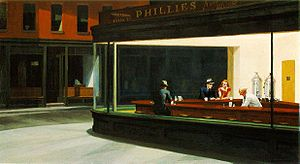 "Edward Hopper, ""Nighthawks"" (1942, Art Institute of Chicago) The alienation of modern urban life is suggested in Hopper's Nighthawks. The shadowy apartment buildings and shopfronts in the background appear gloomy and silent; the only light seems to be coming from the all-night diner. The weariness and passivity of the patrons contrast with the energy of the soda jerk who serves them, as he creates a space of hospitality in a threatening, lonely city."